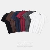 短袖T恤-純色舒適親膚簡約流行男上衣6色73qw3【巴黎精品】