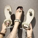 淑女氣質休閒涼鞋女夏季新款時尚串珠仙女鞋網紅百搭涼鞋女潮 【全館免運】