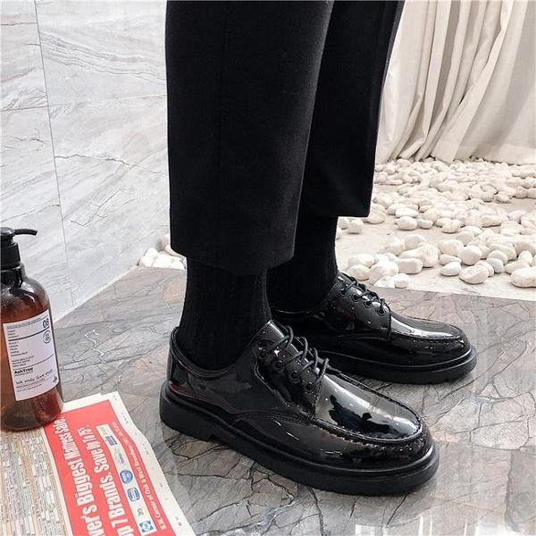 秋季休閒西裝鞋男商務正裝黑色小皮鞋大頭鞋韓版圓頭馬丁靴潮學生晴天時尚