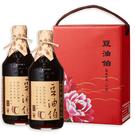 【台灣源味本舖】豆油伯缸底醬油伴手牡丹禮盒組(缸底醬油500mlx2)