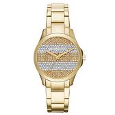 A│X Armani Exchange 迷人丰采時尚晶鑽腕錶-金