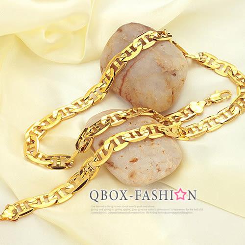 《 QBOX 》FASHION 飾品【W2016N439】 精緻個性G型片扁環扣鍍18K金項鍊子/鍊條