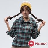 【MARMOT】Shelley 女連帽刷毛半門襟保暖衣『藍綠』49880 戶外 登山 冬季 禦寒 防風 連帽 長袖