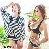 藍色巴黎~  條紋三件套比基尼泳裝美胸集中鋼圈加厚胸墊厚3 5 公分~M L ~~2813