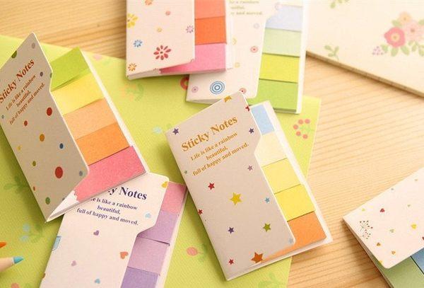 【發現。好貨】韓國創意文具 清新彩虹色雙面雙色N次貼便利貼紙便籤本手帳貼紙