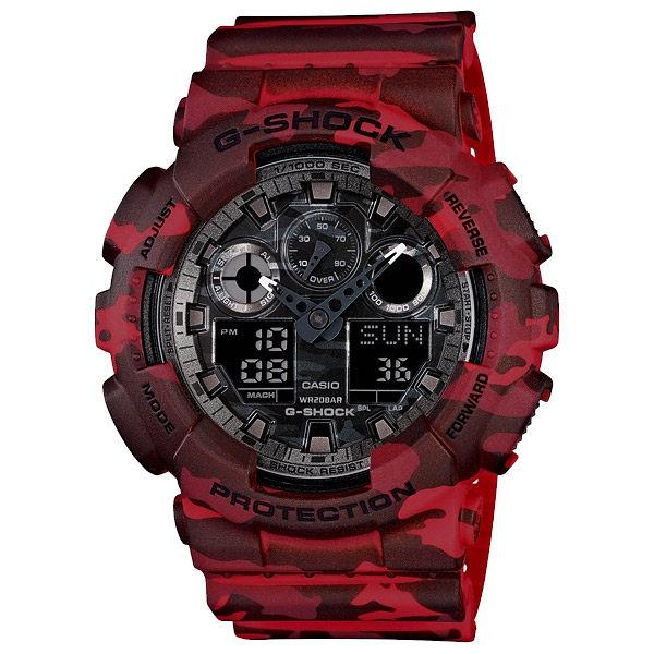 CASIO 卡西歐 G-SHOCK迷彩雙顯錶-紅/49mm GA-100CM-4ADR / GA-100CM-4A