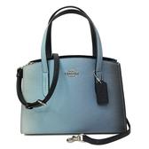 【COACH】專櫃款全牛皮手提斜背兩用托特方包(漸層藍)