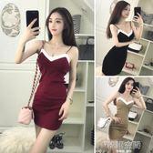 性感夜店女裝V領拼色吊帶修身顯瘦包臀緊身洋裝潮 韓語空間