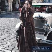 斗篷外套女 格子外套女中長款2020秋冬季新款寬鬆過膝英倫風斗篷大衣