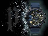 【時間道】POLICE粗曠雙時區大錶徑腕錶 / 黑面黑殼炫色鏡面深藍皮帶(15381JSB-61)免運費