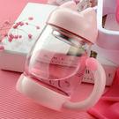 ✭米菈生活館✭【Z94】貓咪造型玻璃茶杯(420ml) 茶壺 蛋糕 茶包 濾網 茶渣 手把 點心 密封  家用