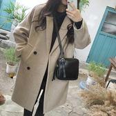 長版大衣風衣正韓氣質修身顯瘦中長版冬裝新品毛呢子外套女大衣上衣學生雙排扣推薦