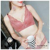 Catworld 巴黎夜曲。無鋼圈蕾絲刺繡深V調整型內衣(咖啡)【18804892】‧70-85B