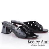 2019春夏_Keeley Ann造型透視跟 斜面點點鏤空拖鞋(黑色)-Ann系列