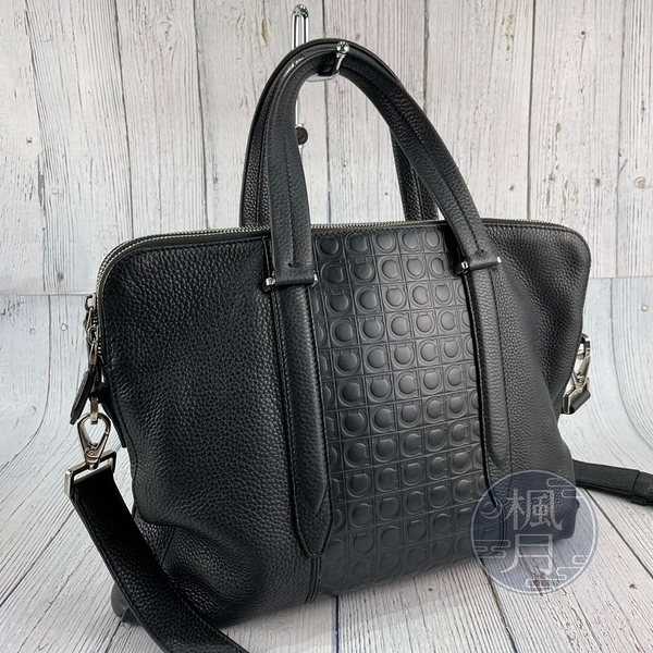 BRAND楓月 Salvatore Ferragamo 經典 240870 黑色 雙拉鍊 皮革 公事包 肩背包 手提包