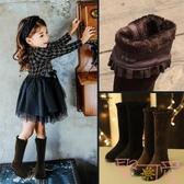 女童高筒靴秋冬季長筒韓版公主加絨棉靴兒童長靴【聚可愛】