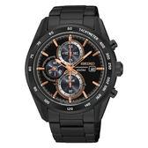 SEIKO Criteria時尚率性太陽能計時腕錶/玫瑰金x黑鋼/V176-0AL0P