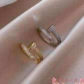 戒指晶蕾滿鉆釘子戒指女ins潮小眾設計時尚個性指環開口可調節食指戒 芊墨