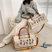 旅行包女大容量出差收納包帆布手提袋短途出行小健身包行李包【邻家小鎮】