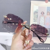 太陽鏡女新款潮無邊框墨鏡網紅同款街拍眼鏡大圓臉防紫外線
