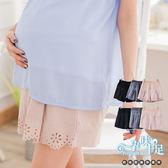 *孕味十足。孕婦裝* 【CKE6246】獨特精緻燒花下擺設計孕婦短褲(腰圍可調) 三色