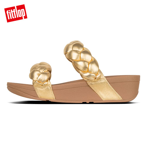 限定優惠價!【FitFlop】PLATT METALLIC LEATHER SLIDES髮辮造型涼鞋(黃金色)