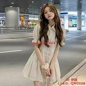 泡泡袖襯衫連身裙女夏季薄款法式初戀設計感短裙子【CH伊諾】