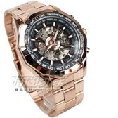 FORSINING 視距儀造型 鏤空時尚機械男錶 陀飛輪造型機械錶 防水手錶 玫瑰金電鍍 F3400玫黑