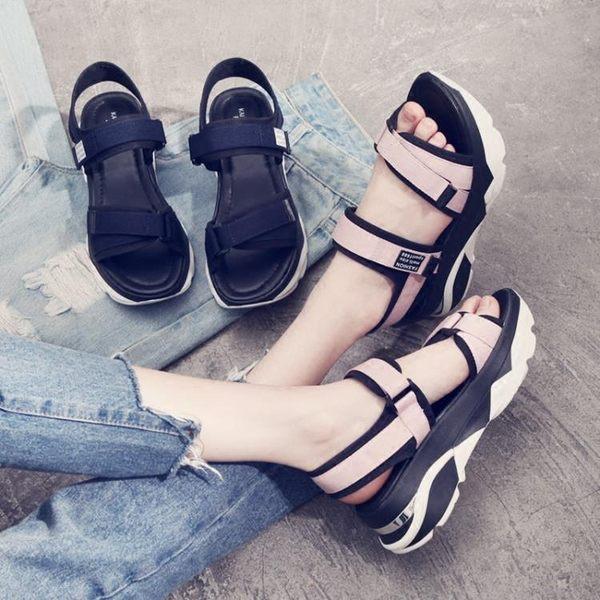 2017夏季新款女生韓版厚底魔術貼中跟休閒平底松糕涼鞋LK1485『黑色妹妹』