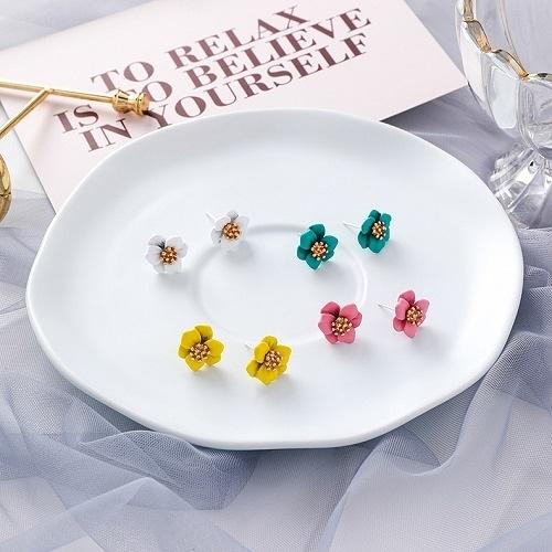 【NiNi Me】韓系耳環 氣質甜美彩色花朵925銀針耳環 耳環 N0472
