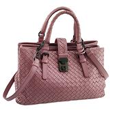 BOTTEGA VENETA 粉色編織皮革手提斜背兩用三層羅馬包(九成新)