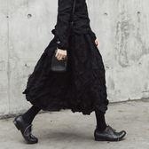 SIMPLE BLACK 暗黑風原創褶皺毛呢料半身蓬蓬小黑裙