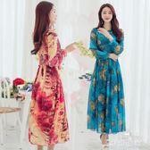 波西米亞洋裝2018新款印花袖度假裙立領大擺長裙zzzy3092『時尚玩家』
