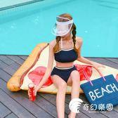 比基尼-定制韓國少女小胸鋼托聚攏分體高腰平角保守溫泉泳衣女-奇幻樂園
