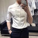 夏季短袖襯衫 男士七分袖休閒薄款五分袖痞帥中袖刺繡襯衣韓版潮流  降價兩天