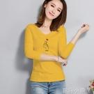 長袖T恤女秋裝新款韓版百搭緊身V領上衣時尚內搭性感修身打底衫 蘿莉小腳丫