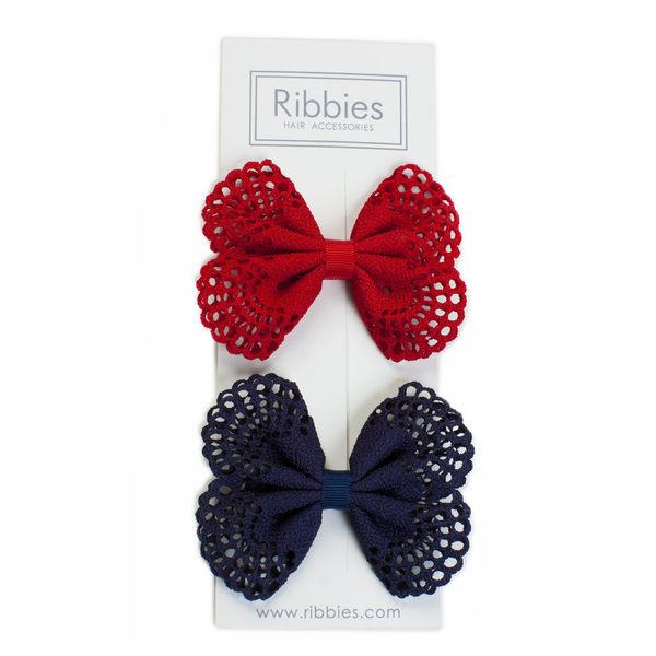 美國 Ribbies Clippies 典雅洞洞蝴蝶結(海軍藍/紅)