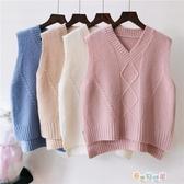 秋冬季女式針織衫菱形馬甲背心毛衣V領套頭源頭加工定制 新春禮物