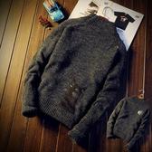 針織衫 毛衣情侶個性毛衣男韓版寬鬆潮流刺繡羊毛針織衫男士外套加厚線衣【快速出貨八折鉅惠】