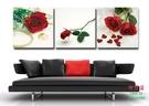 【優樂】無框畫裝飾畫情人節玫瑰情人花裝飾壁畫臥室餐廳沙發背景三聯畫
