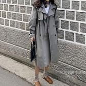 風衣外套秋裝女2019新品灰色風衣女中長款韓版春季外套女港風女裝「名創家居生活館」