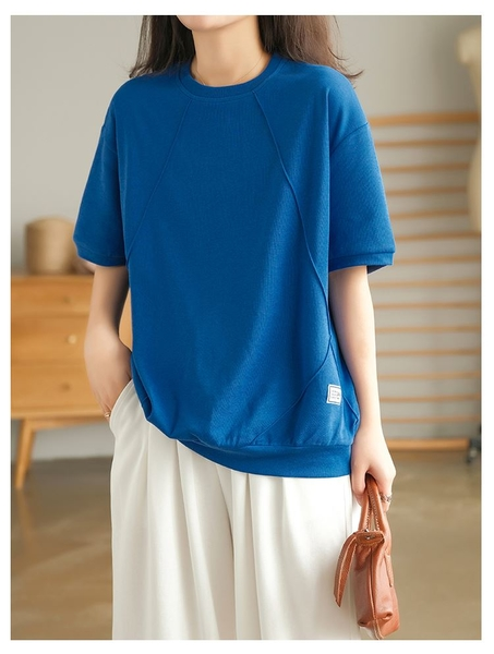 簡約舒適圓領短袖上衣T恤棉T中大尺碼【75-11-85578-21】ibella 艾貝拉