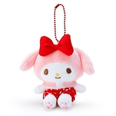 〔小禮堂〕美樂蒂 絨毛玩偶娃娃吊飾《紅褲.愛心印花》掛飾.鑰匙圈 4901610-15087