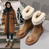 厚底雪地靴女冬季短筒短靴中筒靴子加絨加厚棉鞋【聚寶屋】