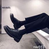 夏季透氣小皮鞋男韓版潮流英倫百搭鞋子男學生休閒黑色大頭皮鞋男 (PINKQ)