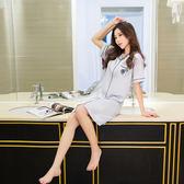 韓版襯衫式睡衣女夏天睡裙性感絲綢開衫短袖睡袍冰絲家居服夏 父親節禮物