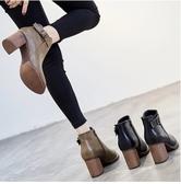 小鄧子短靴女粗跟棉靴英倫風百搭高跟女鞋春秋冬季2017新款馬丁靴女靴子