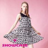 【SHOWCASE】個性線條臉龐層次散狀雪紡洋裝(黑)