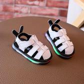 嬰兒包頭涼鞋真皮亮燈 寶寶學步鞋軟底防滑