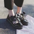 娃娃鞋 日系洛麗塔lolita厚底女鞋大蝴蝶結圓頭原宿軟妹平底 - 古梵希